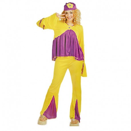 Disfraz de hippie chica magenta