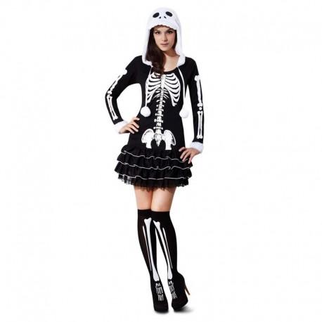 Disfraz de chica esqueleto blanco
