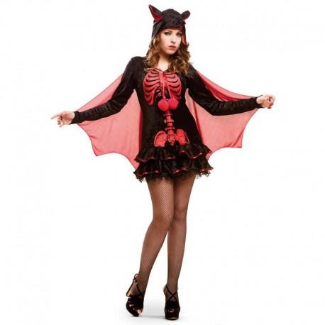 Disfraz de chica esqueleto roja