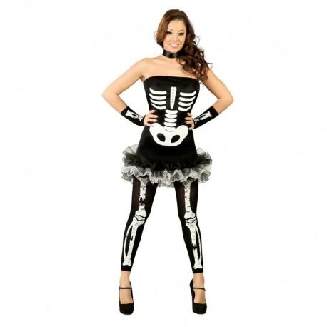 Disfraz de esqueleto de chica con falda