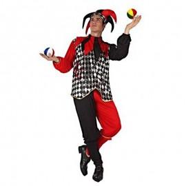 Disfraz de bufon rojo y negro