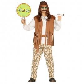 Disfraz de hippie chico marron