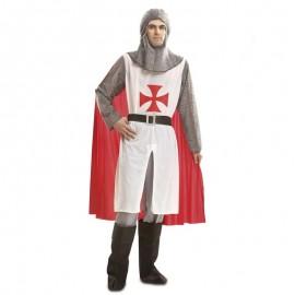 Disfraz de caballero medieval blanco cruz