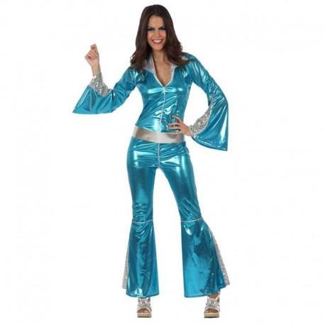 Disfraz de disco chica azul