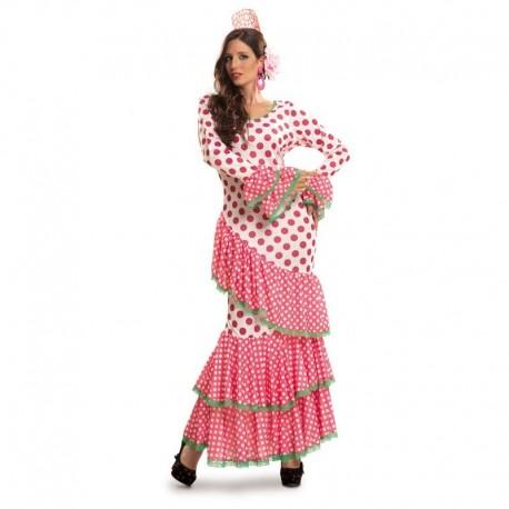 Disfraz de flamenca rosa ribete verde XL